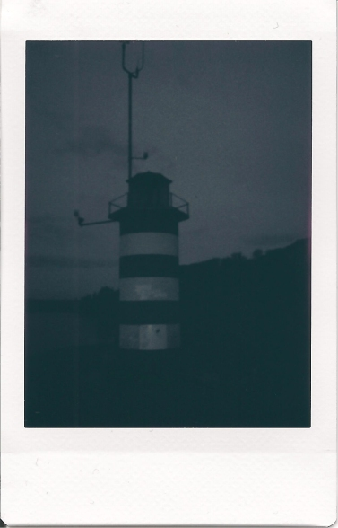 the lighthouse at dusk (monochrome)