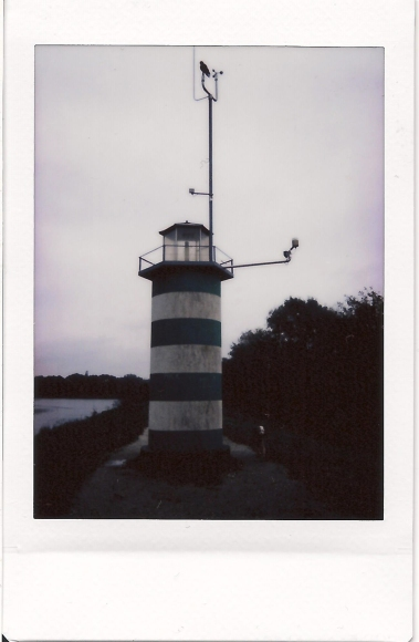 the lighthouse at day with a crow on top